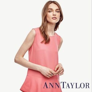 Ann Taylor Matte Jersey Peplum Shell